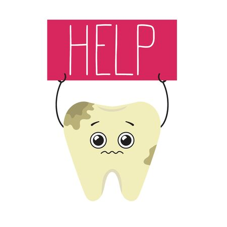 Cartoon sick tooth asks for help. Vector illustration