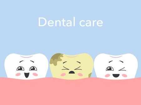 Cartoon sick tooth among healthy. Hawaiian teeth. Dental care concept. Vector illustration