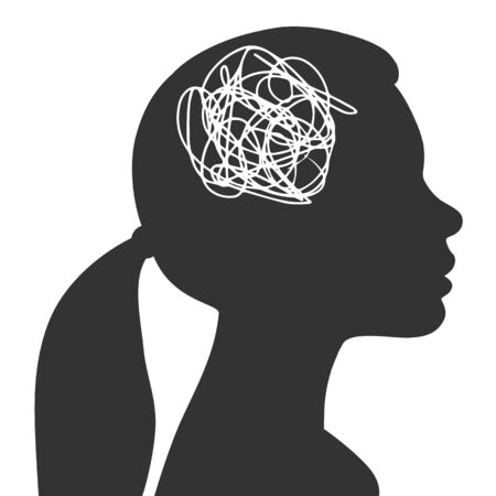 Tangled thoughts in a female head. The concept of anxiety and problems. Vector illustration