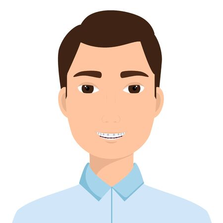 Portrait of a smiling man with orthodontic braces on his teeth. Vector illustration Ilustracja