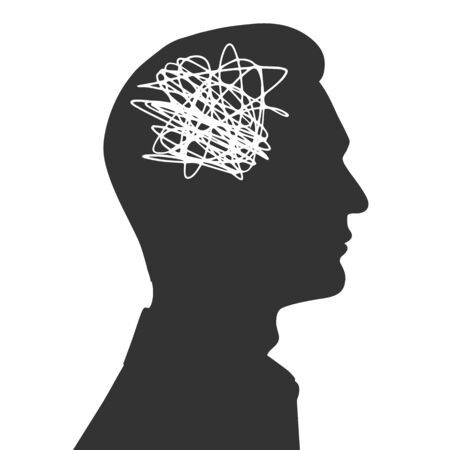 Tangled thoughts in a male head. The concept of anxiety and problems. Vector illustration