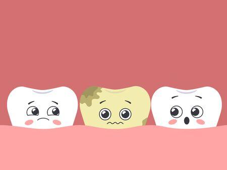 Cartoon sick tooth among healthy. Hawaiian teeth. Vector illustration