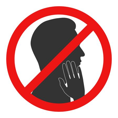 Prohibition of touching the face. Red stop sign. Vector illustration