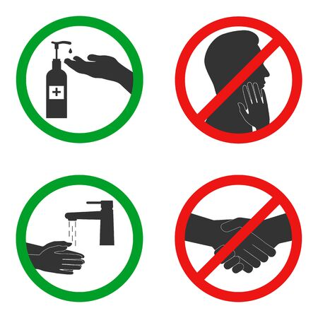 Set of signs of permitted and prohibited actions for the prevention of the SARS and coronavirus epidemic. Vector illustration