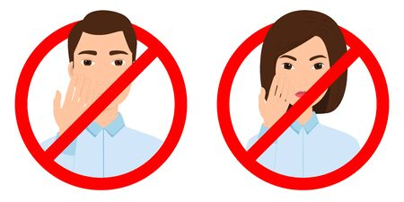Prohibition of touching the face. Red stop signs with man and woman. Vector illustration Illustration