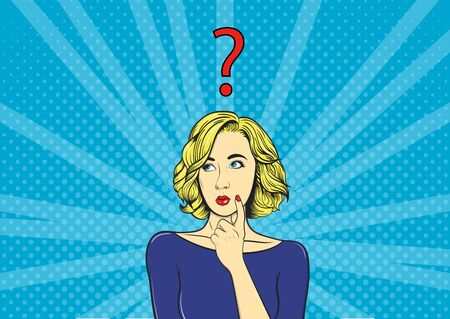 Thoughtful girl and question mark. Woman in comic style. Vintage vector illustration