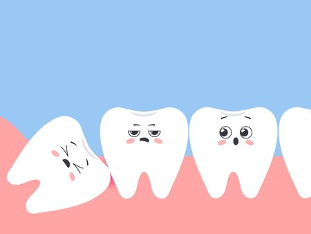 Incorrectly positioned wisdom tooth. Cartoon displeased teeth. Vector illustration Ilustração
