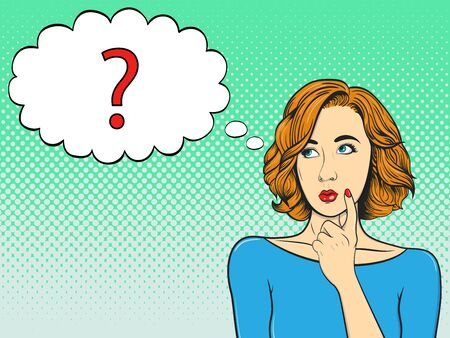 Thoughtful girl and question mark in speech bubble. Woman in comic style. Vintage vector illustration 向量圖像
