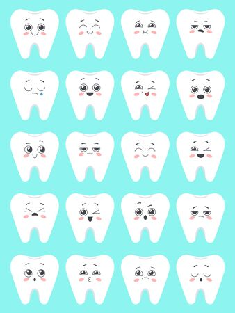 Set of cute   cartoon tooth with faces. Emoji collection. Vector illustration 向量圖像