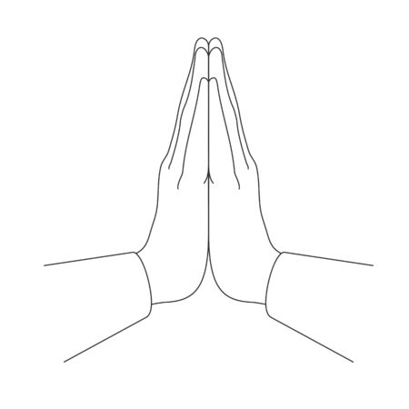 Mudra Namaste. Hands folded in a welcome gesture. Vector illustration