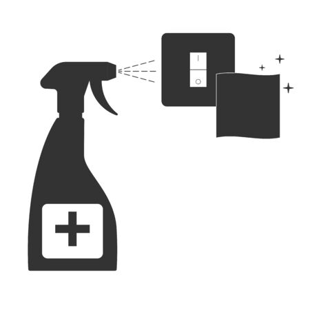 Cleaning the light switch. House cleaning. vector illustration