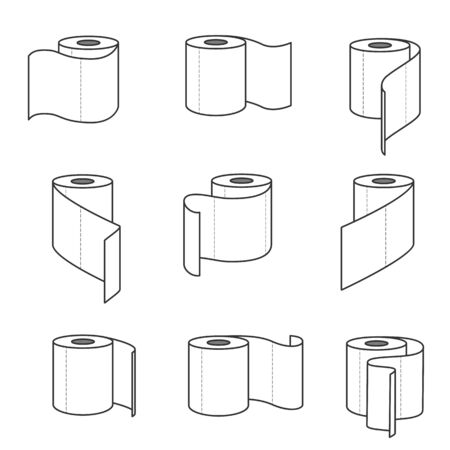 Collection of toilet paper rolls icons. Vector illustration Vettoriali