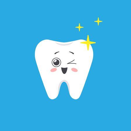 Happy shiny tooth in cartoon style. Vector illustration