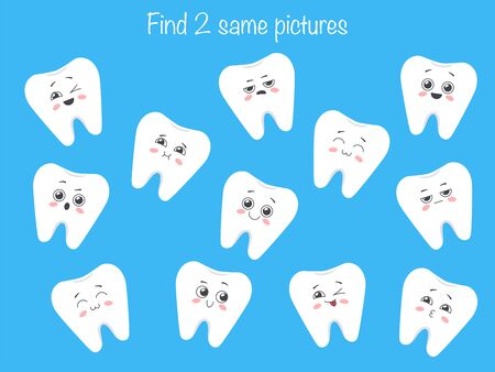 Find the same pictures - children educational game with forest animals faces. Vector illustration