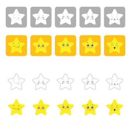Rating scale with five cute yellow stars. Graduation of mood from crying to happiness. Vector illustration