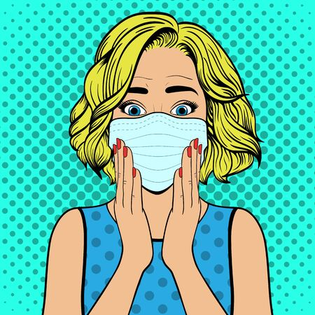 Surprised woman with medical mask. Comic woman. Wow face female. Pop Art vintage vector illustration Иллюстрация