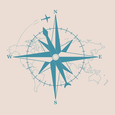 Sign of compass with silhouette of plane. Vector illustration
