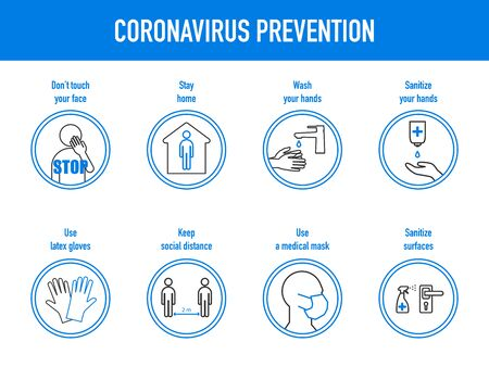 The prevention of coronavirus - the use of a medical mask and gloves, don't touch face, wash and sanitize hands, disinfection surfaces, maintaining a social distance, stay home. Vector illustration Ilustração Vetorial