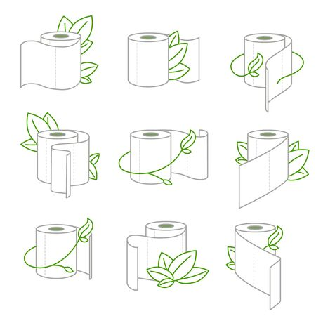 Eco toilet paper icons set. WC paper with green leaves. Vector illustration