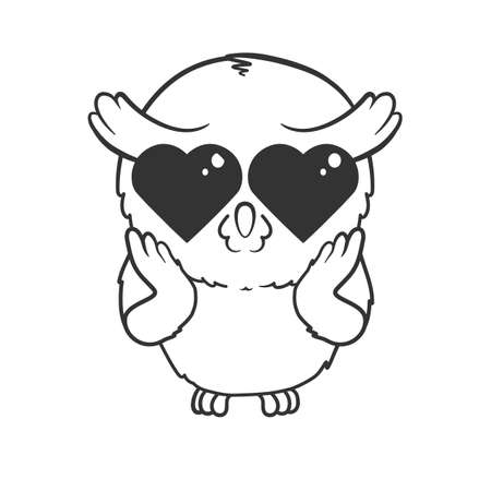 Cute cartoon owl in love isolated on white background. Vector illustrationCute cartoon owl in love isolated on white background. Vector illustrationCute cartoon owl in love isolated on white background. Vector illustration