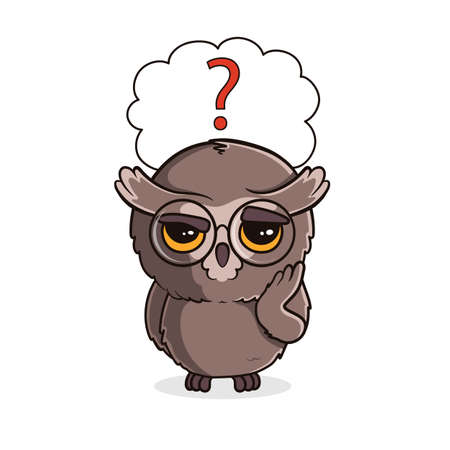 Cute cartoon owl with question mark in speech bubble isolated on white background. Thoughtful owlet. Vector illustration Ilustração