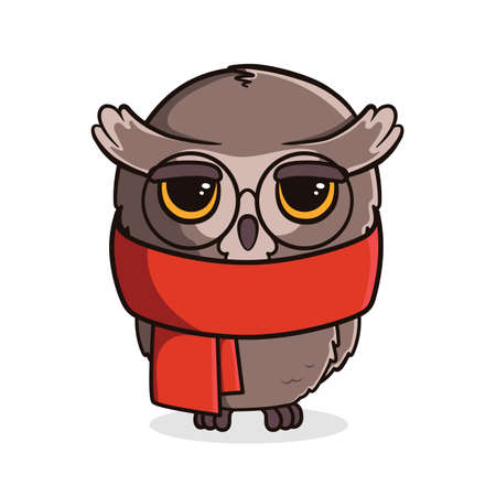 Cute cartoon owl with scarf isolated on white background. Vector illustration Ilustração