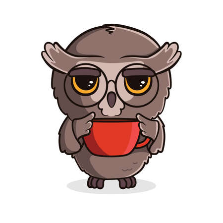 Cute cartoon owl with a cup of tea or coffee isolated on white background. Vector illustration