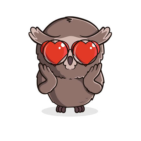 Cute cartoon owl in love isolated on white background. Vector illustration 向量圖像