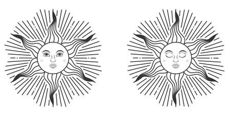 Pair of suns with open and closed eyes in medieval style isolated on white background. Vector illustration Ilustração