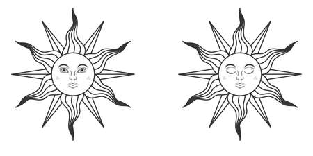 Pair of suns with open and closed eyes in medieval style isolated on white background. Vector illustration  イラスト・ベクター素材