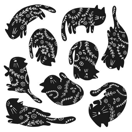 Collection of cats with floral ornament in different poses in a naive style. Vector illustration