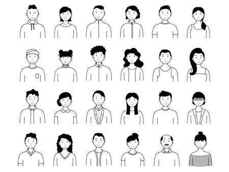 Collection of portraits of people. Simple set of male and female avatars. Vector illustration