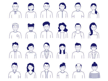 Collection of portraits of people in medical masks. Simple set of male and female avatars. Vector illustration Ilustração