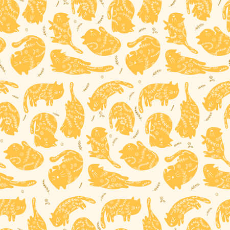 Seamless pattern cats with floral ornament in different poses in a naive style. Vector illustration