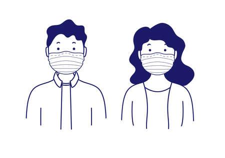 Portraits of man and woman in medical masks. Simple avatars. Vector illustration Ilustração