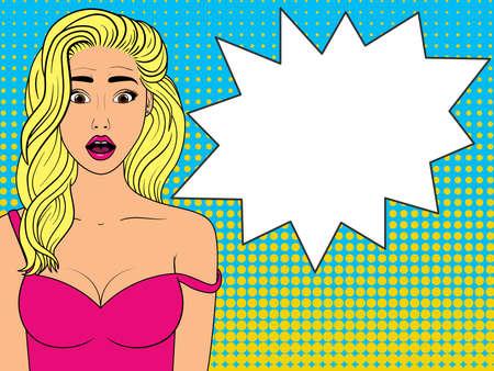 Surprised woman with speech bubble.Comic woman. Wow face female. Pop Art vintage vector illustration Ilustración de vector