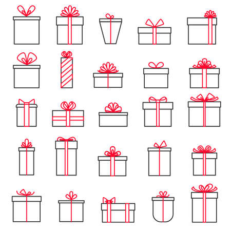 Collection of gift boxes isolated on white background. Vector illustration