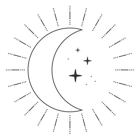 Moon and stars in retro style isolated on white background. Vector illustration Ilustração