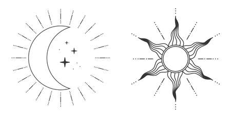 Sun and moon and stars in retro style isolated on white background. Vector illustration
