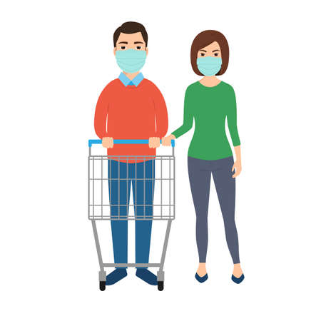 A man and woman in medical masks with empty trolley in a supermarket. Vector illustration