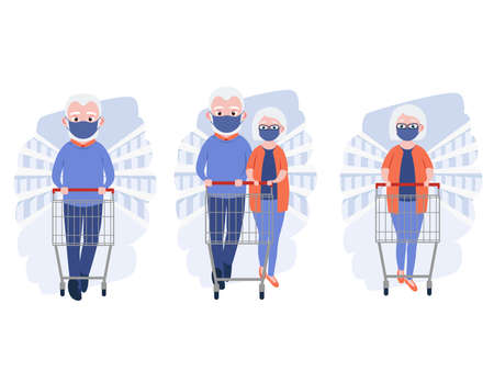 Old women and men with medical masks and shopping cart in grocery store or supermarket. Cute grandparents. Elderly couple. Cartoon character. Vector illustration Ilustração