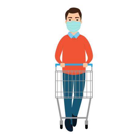 A man a in medical mask with empty trolley in a supermarket. Vector illustration Ilustração
