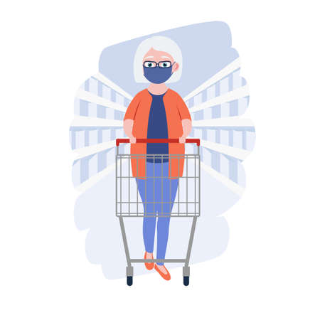 Old women with medical masks and shopping cart in grocery store or supermarket. Cute grandmother. Cartoon character. Vector illustration Ilustração