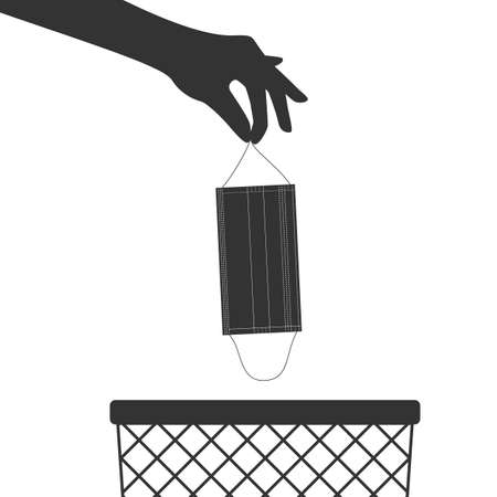 The hand throws the used medical mask into the trash can. Vector illustration Ilustração
