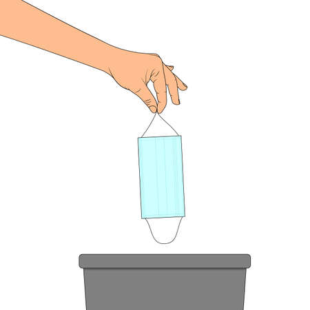 The hand throws the medical mask into the trash can. Vector illustration in cartoon style Ilustração