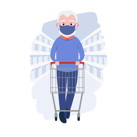 Old man with medical masks and shopping cart in grocery store or supermarket. Cute grandfather. Cartoon character. Vector illustration Ilustração