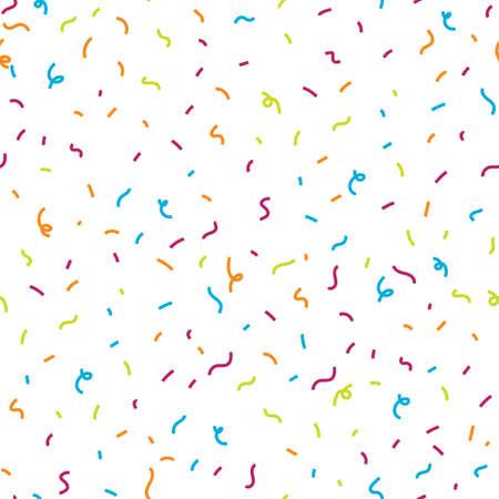 Seamless pattern with bright multicolored confetti on a white background. Vector illustration Ilustração