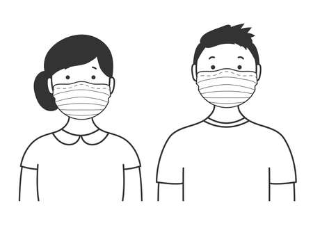 Portraits of man and woman in medical masks. Simple avatars. Vector illustration Çizim