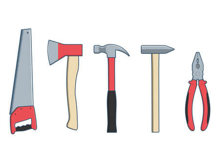 Collection of carpenter's tools - ax, hammer, hand saw and pliers isolated on white background. Vector illustration