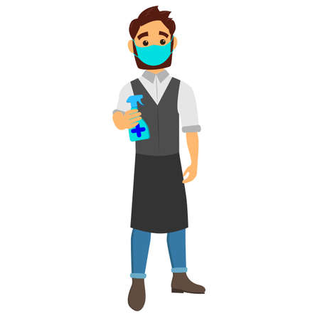 A friendly waiter in a medical mask and a sanitizer in his hands. A male waiter in an apron. Vector illustration